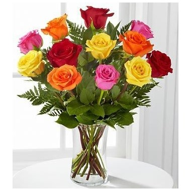 Bright and cheery flowers same day delivery - Multi Colored Dozen Roses Flowerama Apple Valley